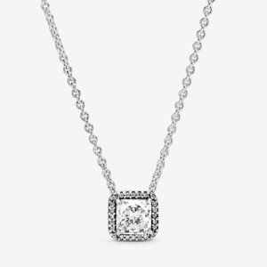 💝Pandora Square Sparkle Halo Necklace